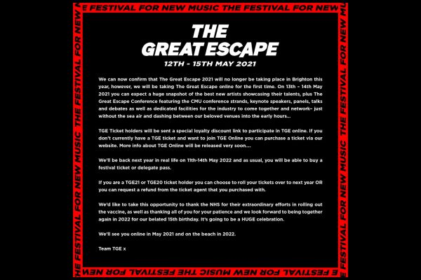 The Great Escape's 2021 festival will be held online