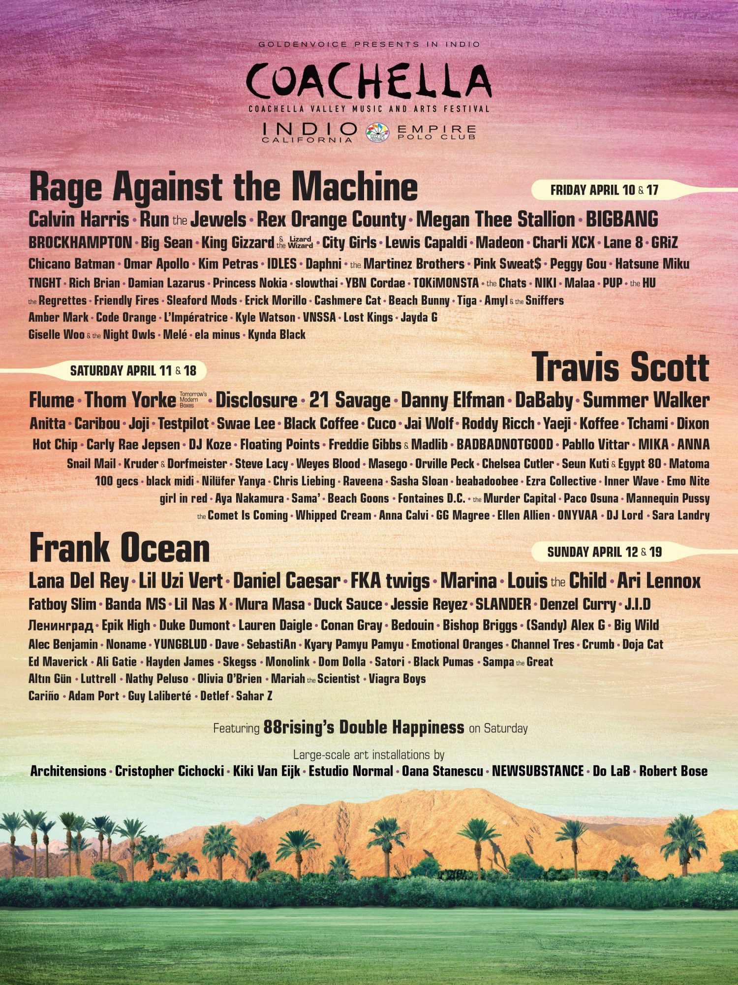 Rage Against the Machine, Yungblud, PUP and more are playing Coachella 2020